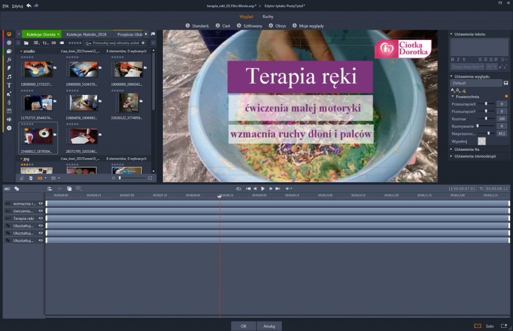 Montaż filmu produktowego.